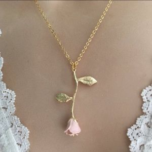 Jewelry - 18KGF Pink Rose Necklace